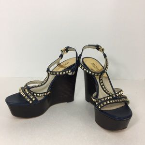 MICHAEL KORS Blue Leather Studded Platform 6.5
